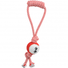 Pull-Away Rope and Tennis Ball Dog Tug Toy red
