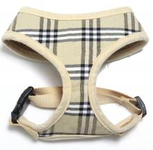 white plaid pet harness